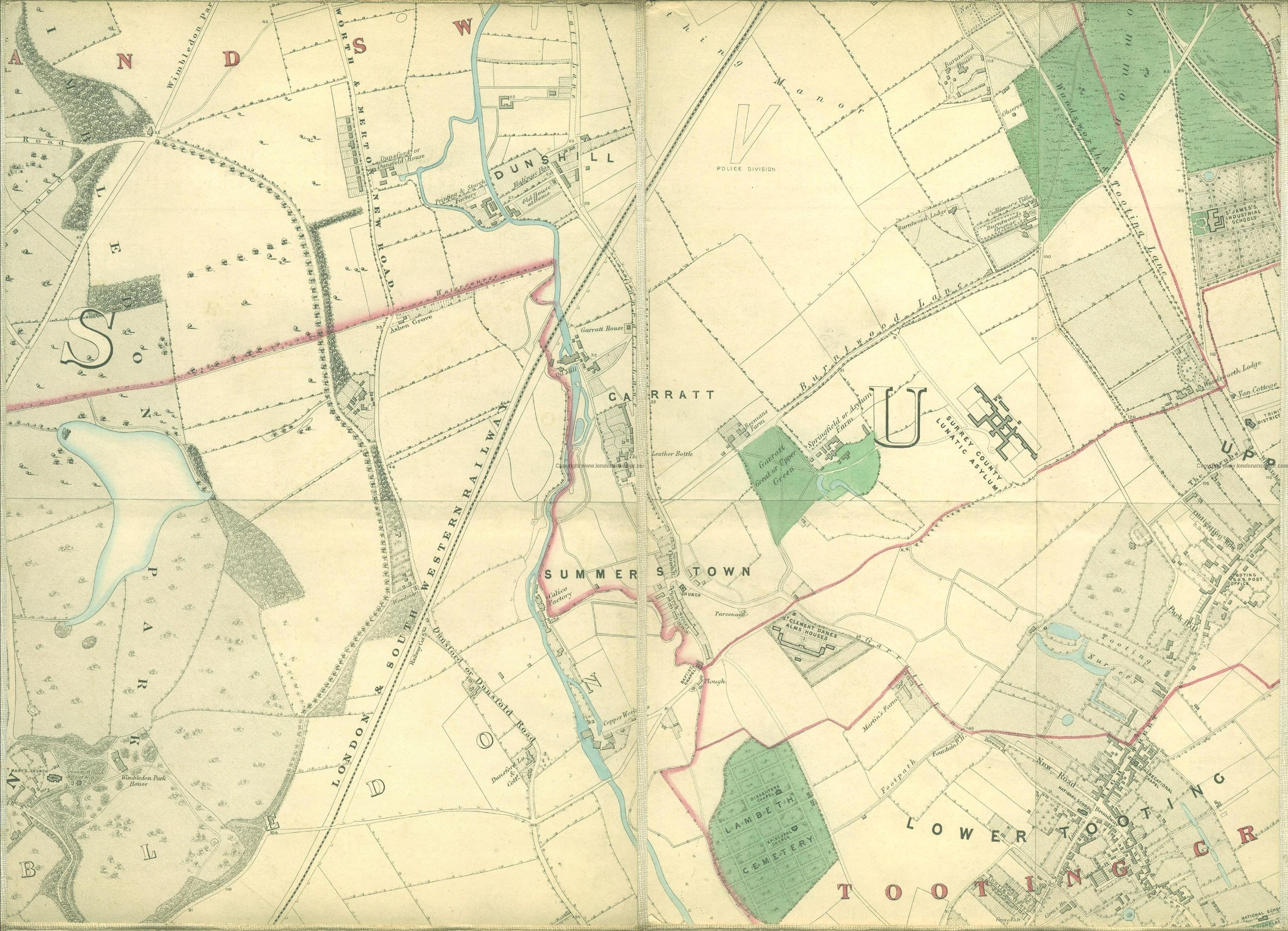 Map of Summerstown in 1862