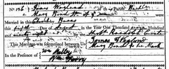 Marriage register entry for James Wagland and Mary Bond