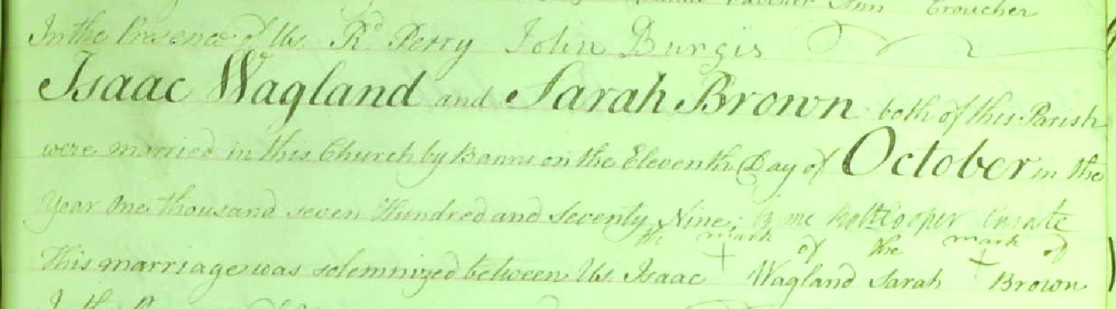 Marriage register entry for Isaac Wagland and Sarah Brown